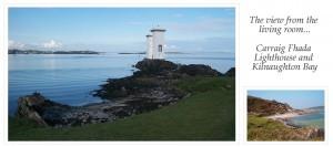 A photo of Carraig Fhada Lighthouse and a smaller photo of Kilnaughton Bay