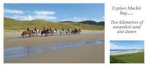 A photo of horse riders on the beach and a smaller photo of the beach